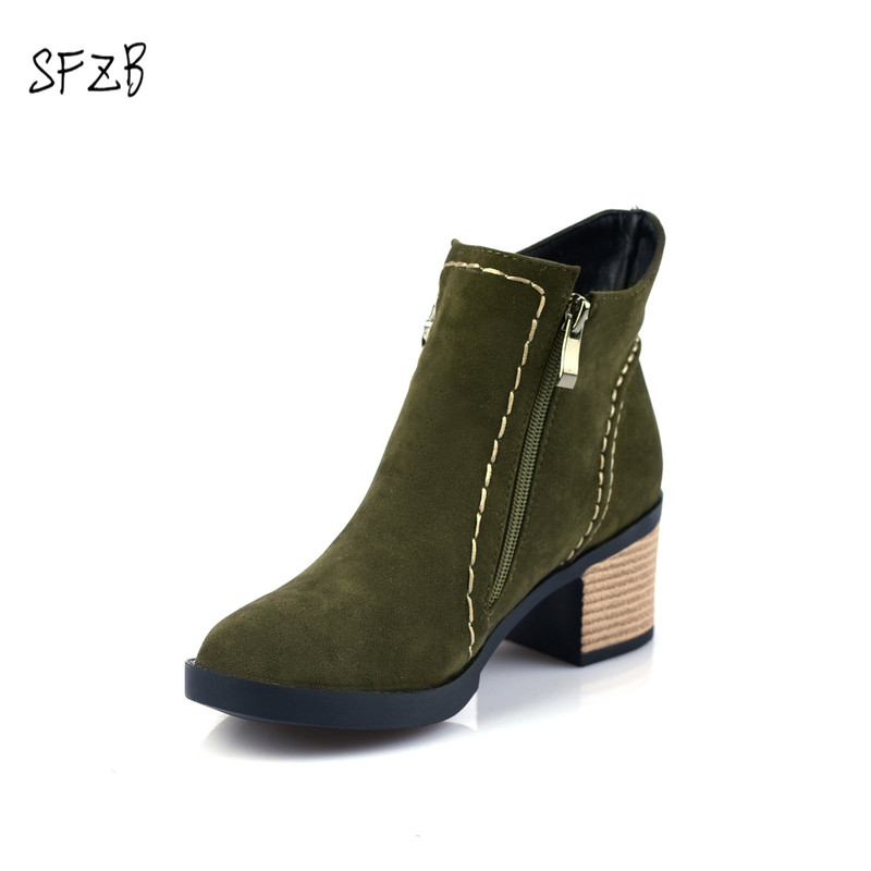SFZB 2018 Women Ankle Boots Zipper Design Fashion Square High Heel Round Toe All Match Ladies Motorcycle Boots Size 34-43