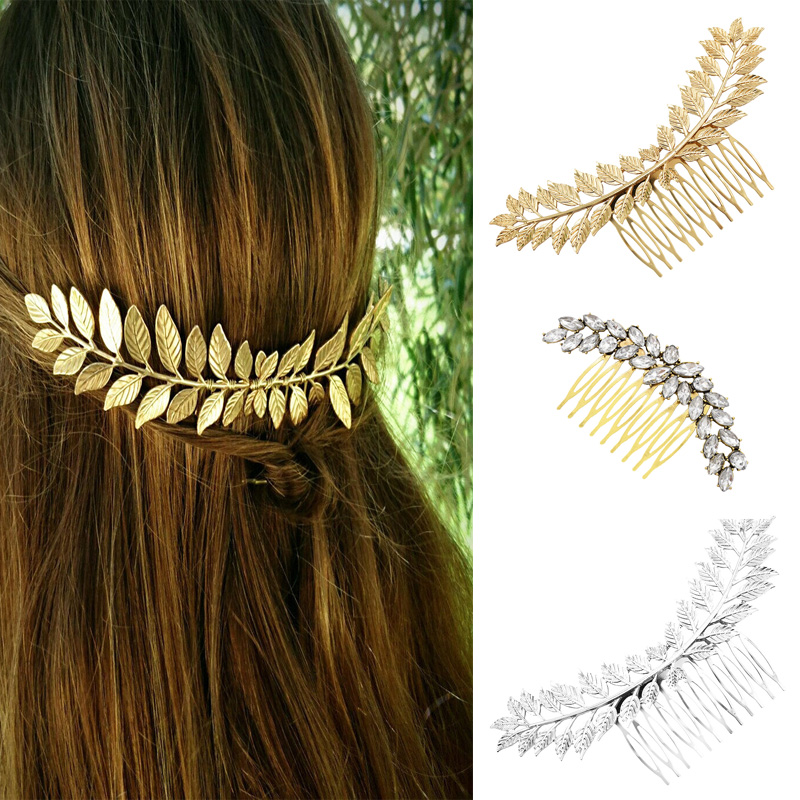 Baroque Style Greece Bridal Leaf Hair Comb Gold Color Metal Headpiece Wedding Party Headband Hair Pins Accessories Hair Jewelry