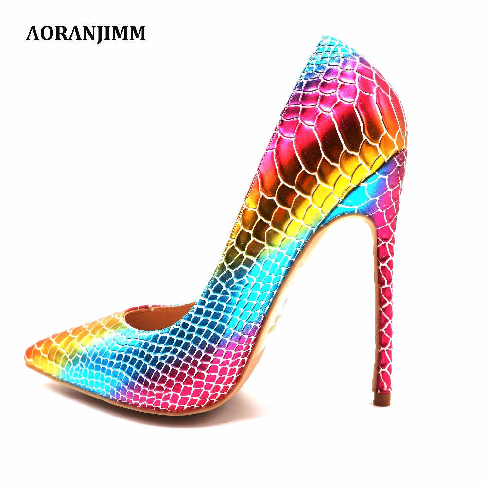 Free shipping real pic AORANJIMM hot sale outstanding colorful python snake pointed toe women lady 120mm