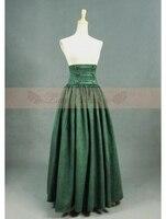 Olive Vintage Taille Haute Longue Victorienne