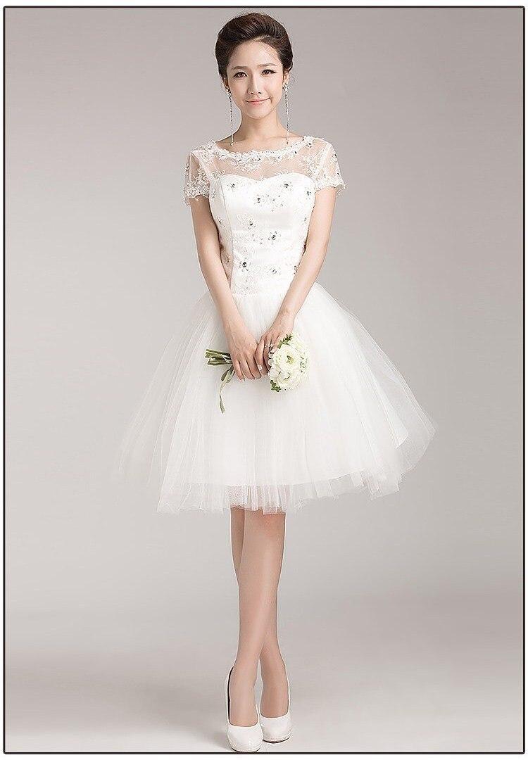 Free shipping white short wedding dress 2015 short sleeve for Wedding dress free shipping