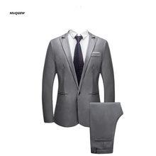 f4e68e86f 2019 nueva llegada primavera SpringSuit hombres con pantalones de corte Slim  botón traje Color puro vestido