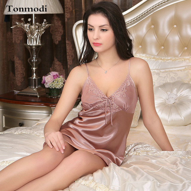 11 Color Nightgowns Women Summer Sexy Sleepwear Silk Satin Ladies Night  Suits Women Lounge Mini Nightdress 2a49bed71