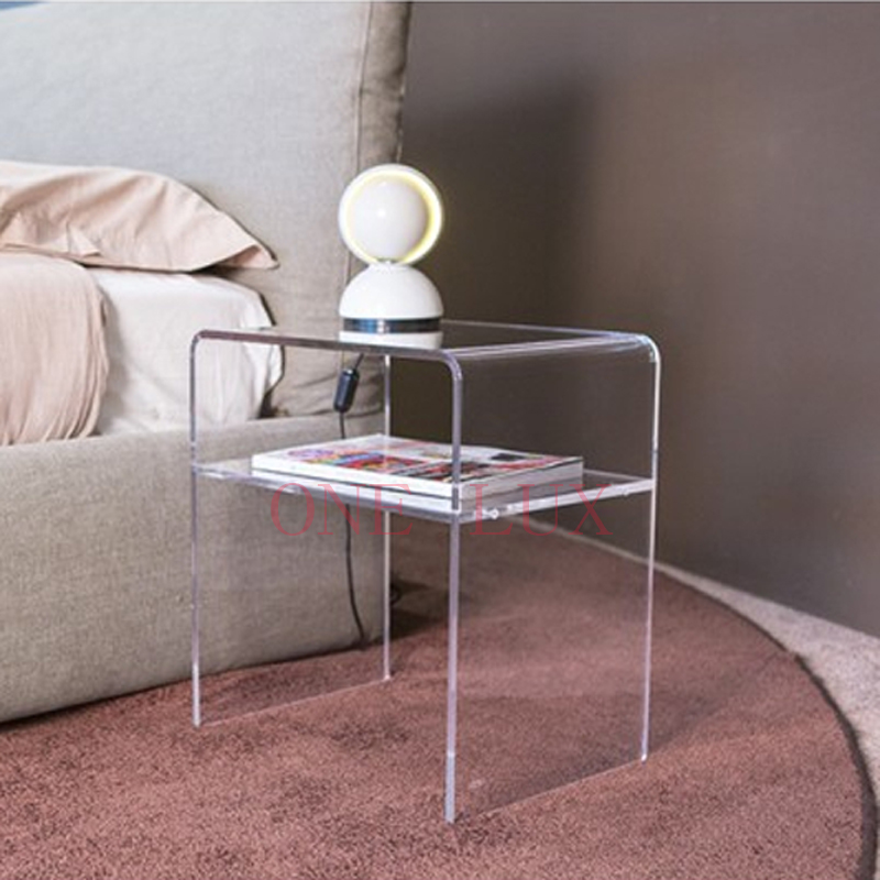 ONE LUX Plain and elegant clear transparent plexiglass acrylic bedside table with shelf - 40W 30D 45H CM,Lucite Nightstand free shipping shelf clear acrylic lucite bedside table plexiglass nightstand