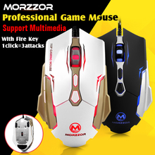 MORZZOR 2400DPI 7buttons high quality Computer Mouse Optical USB Wired Gaming Mouse Professional Game Mice for Laptops Desktops