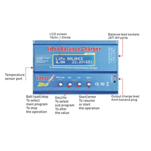 Image 3 - HTRC iMAX B6 80W 6A סוללה מטען Lipo NiMh ליתיום Ni Cd הדיגיטלי RC מטען Lipro מאזן מטען פורק + 15V 6A מתאם