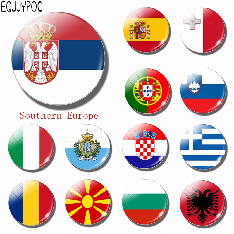 Serbia National Flag 30 MM Glass Fridge Magnet Southern Europe Bulgaria Italy Spain Portugal Andorra Romania Magnetic Sticker(China)