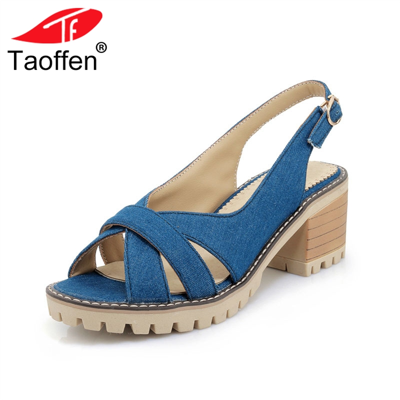 TAOFFEN Big Size 34-43 Leisure High Heels Women Summer Shoes Comfortable Sandals Brand New Black Shoes Woman Daily Footwear taoffen ladies leisure casual flats shoes low heels lady loafers sexy spring women brand footwear shoes size 34 42 p16166