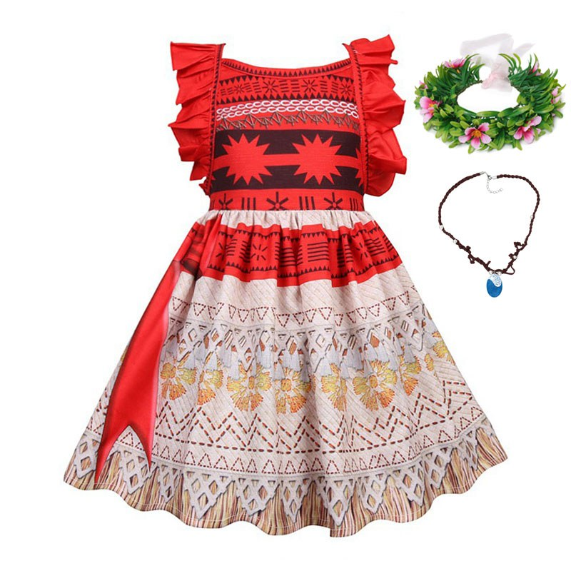 Женский костюм Моаны VOGUEON, нарядный костюм принцессы с оборками и открытой спиной, пляжная одежда для детей 2, 3, 4, 5, 6, 7, 8 лет