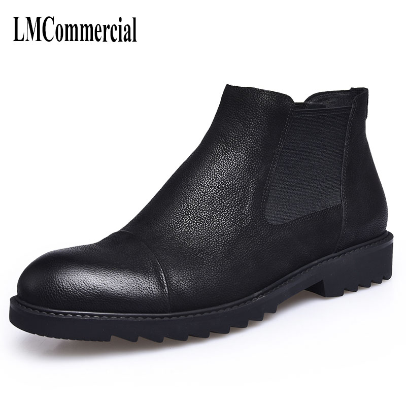 autumn and winter men leather boots Martin male retro high casual shoes men boots Chelsea England breathable handmade fashion коврик для мышки круглый printio узор ромбов