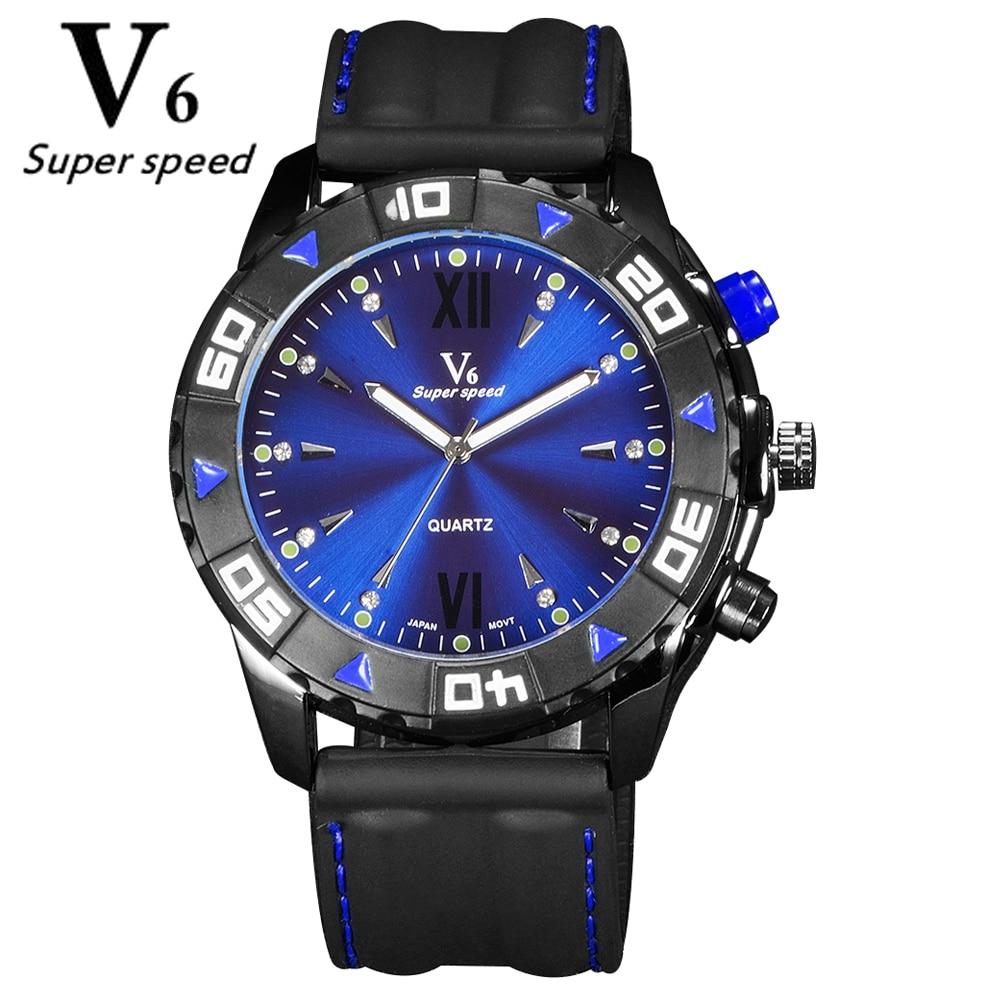 V6 Fashion Sport Watch Men 2016 relogio masculino Silicone Strap Men's Watches Famous Brand Logo Quartz-Watch Clock Male relogio v sport ft209 2