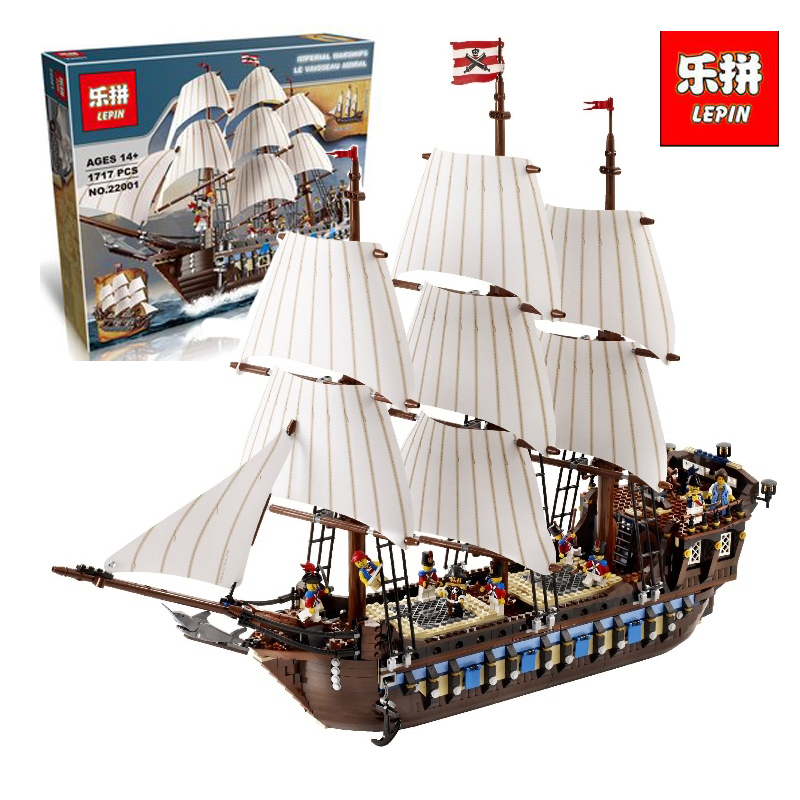 Lepin 22001 1717Pcs Pirate Ship Imperial warships Model Building Kits Block Briks Toys LegoINGlys With 10210 birthday Gift lepin 22001 pirates series the imperial flagship model building blocks set pirate ship legoings toys for children clone 10210