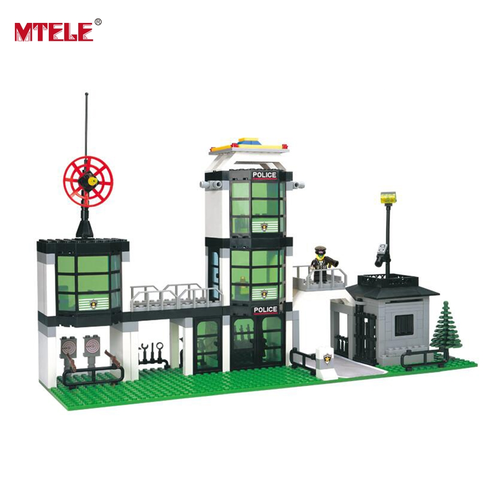MTELE Brand Police Department Assembled Building Blocks Brick DIY Educational Kids Toy Compatible with lego High Quality