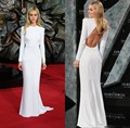 Nicola Peltz Beyonce Celebrity Dresses Long Sleeve White Open Back Prom Dress Sexy Ladies Evening Dress Vestidos de festa longo