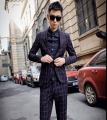 2015 NEW Men's FASHION plaid slim Suit Sets brand casual trend of the suit jacket (suit+pant) / S-XXL Free shipping !