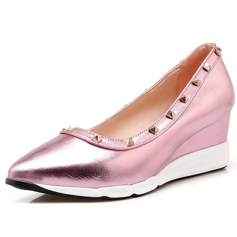 Rivets pu leather platform spring and autumn deep mouth single shoes high-heeled platform women's shoes wedges gold silver pink wendywu spring autumn children fashion pu leather heeled shoe for baby girsl rhinestone princess dance shoes gold toddler