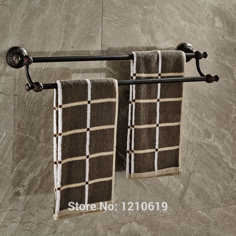 Newly Oil Rubbed Bronze Double Towel Bars Rails Retro Style Bathroom Towel Rack Shelf Wall Mount