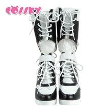 Harley Quinn Mulheres Botas Finas Sapatos de 2017 Mulheres Novas Botas Sexy botas de neve de inverno das mulheres coxa botas altas sapatos mulher Branca HG35