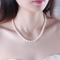 a3445246ce81 Genuine TOP 8 9mm Rice Grain AAAAA Natural Pearl Necklace White Pink  Fashion Pearl Necklace For