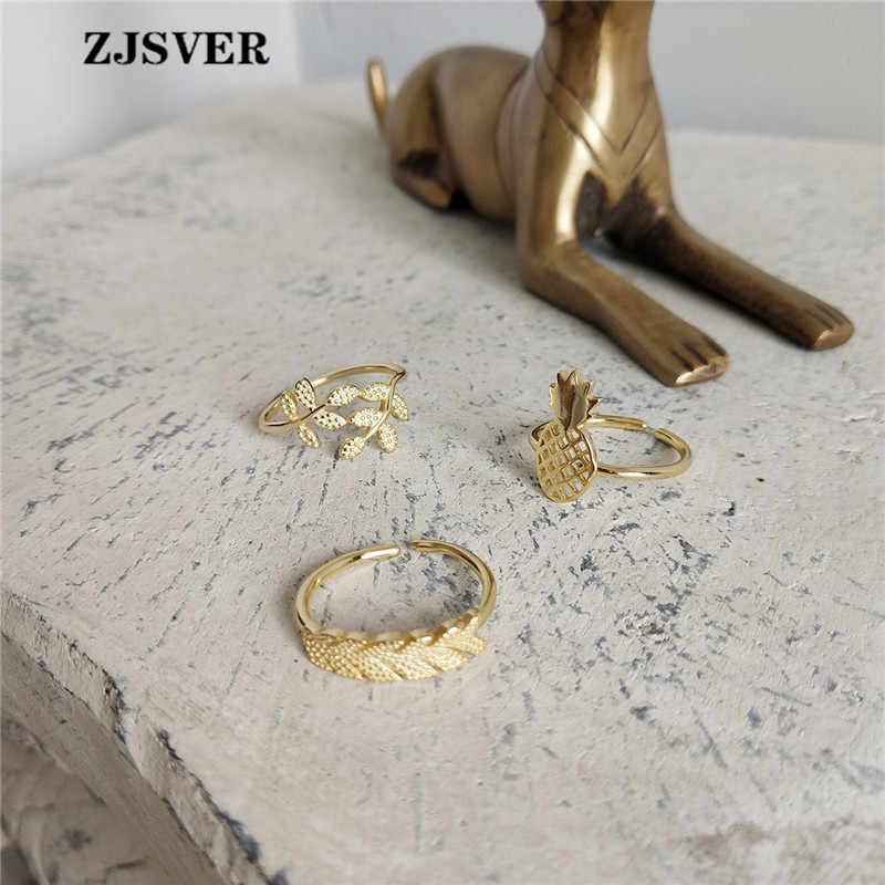ZJSVER 925 Sterling Silver Rings Golden Korean Fashion Simple Pineapple/Plantain/Leaf Three Types Women Ring Wholesale Jewelry