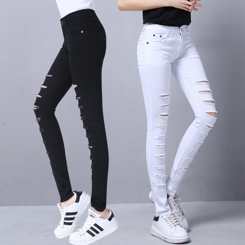 Black Ripped Jeans For Women Denim Pants Holes Destroyed