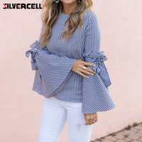 SILVERCELL Fashion Women Blue Stripped Blouse Casual Bowknot Long Sleeve O Neck Blouse