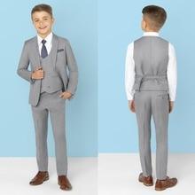 Новое поступление, одежда для мальчиков, детские костюмы с лацканами, одежда, выполненная на заказ, комплект из 3 предметов, костюмы для выпускного вечера(куртка+ штаны+ галстук+ жилет) 022