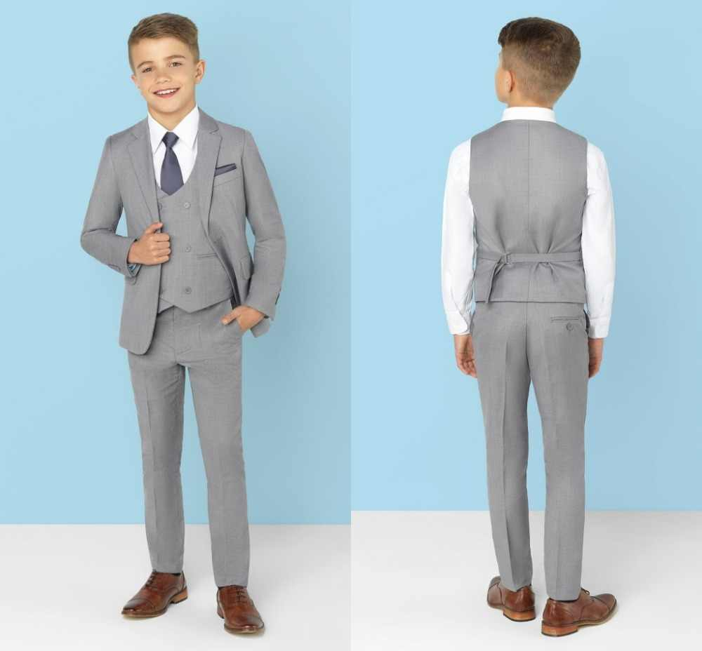 2019 New Arrival Boys' Attire Peaked Lapel Kids Suits Custom Made Clothing Set 3 Pieces Prom Suits (Jacket+Pants+Tie+Vest) 022