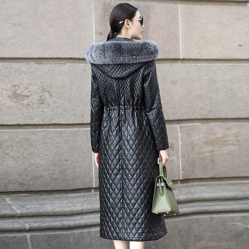 Peau Véritable Coton Fourrure D'hiver Renard Femmes Black Chaud Veste Cuir 2019 Ayunsue Manteau Survêtement De Long Mouton En Rembourré Wyq838 Col xwa4I0Wq