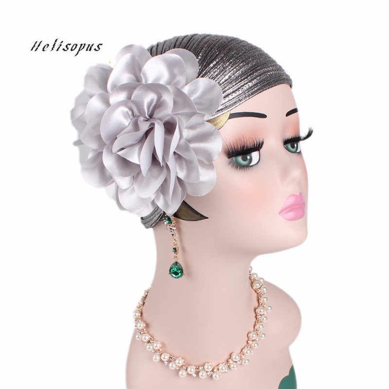 Helisopus Women New Luxury Fold Big Flower Head Scarf Women Retro Cap Chemo Hat Bandana Ladies Ruffle Turban Headbands