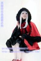 К Кусина Анна Косплэй Хэллоуина Красный Лолита форма шляпа + накидка + топ + платье + Бант на заказ