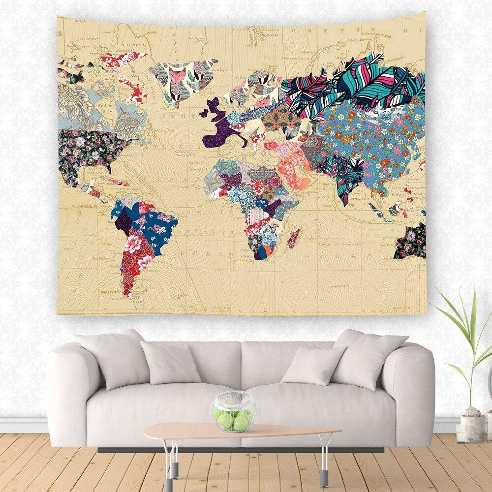 World Map Wall Hanging Living Room Decor Beach Blanket Yoga ...