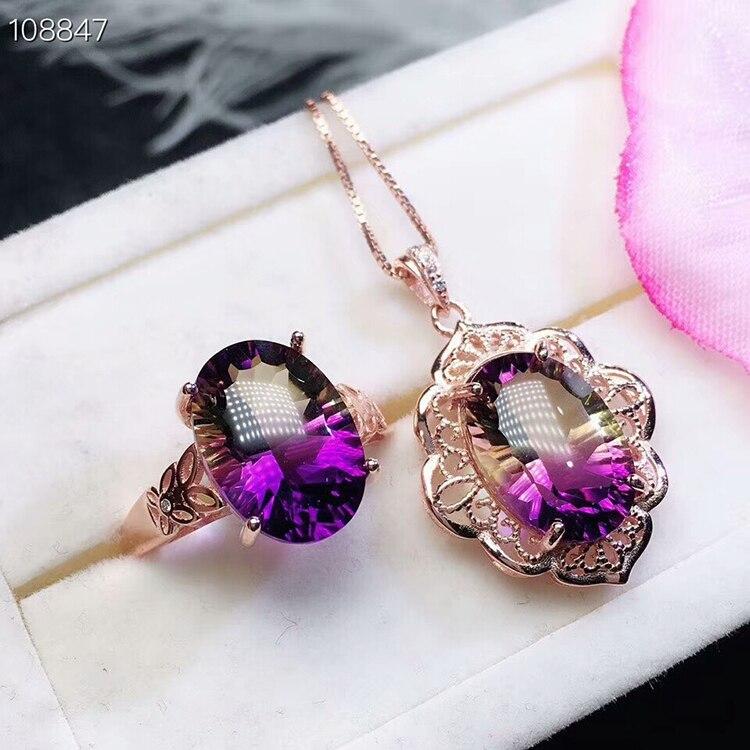 MeiBaPJ sen Cut naturalny Ametrine w porządku na ślub i wesele zestaw biżuterii 925 naszyjnik z czystego srebra i pierścień garnitur dla kobiet w Zestawy biżuterii od Biżuteria i akcesoria na  Grupa 1