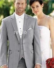 Popular Style Two Buttons Light Grey Groom Tuxedos Groomsmen Men's Wedding Prom Suits Bridegroom (Jacket+Pants+Vest+Tie) K:1131