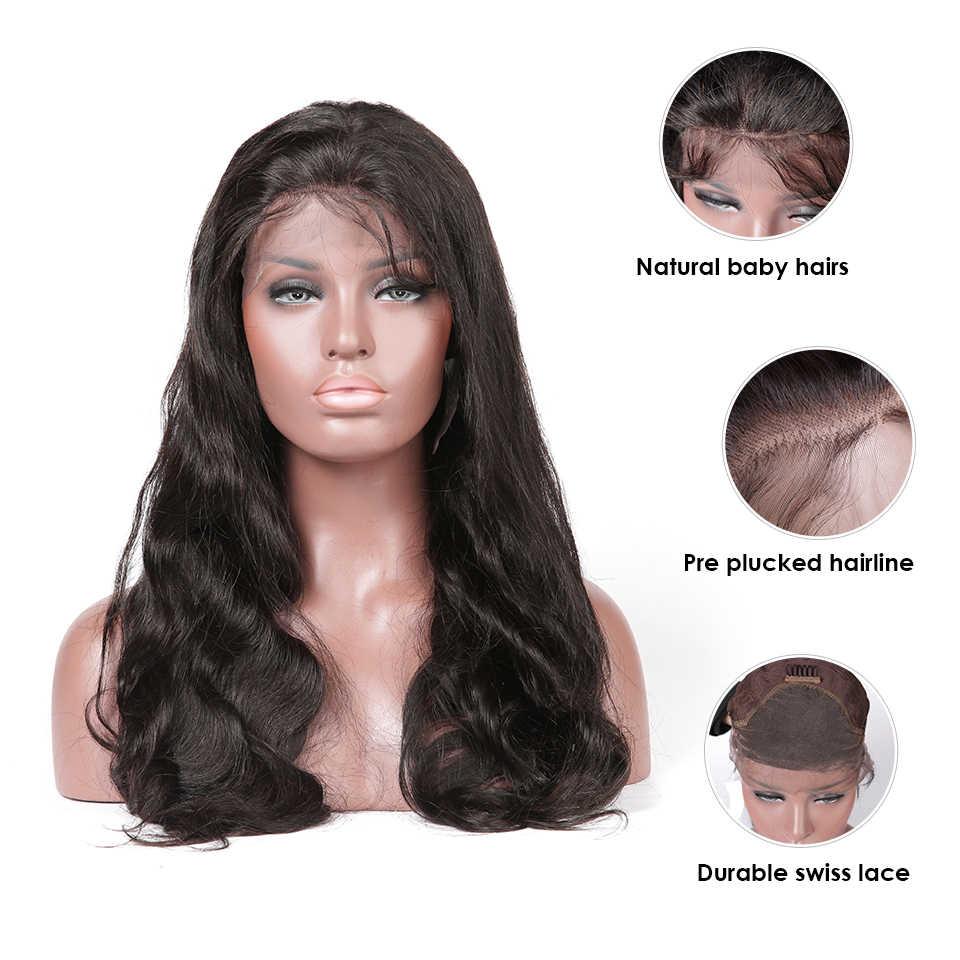 Синтетические волосы на кружеве человеческих волос парики индийский объемная волна предварительно вырезанные с детскими волосами Парики Remy для черный Для женщин HJ переплетения красоты