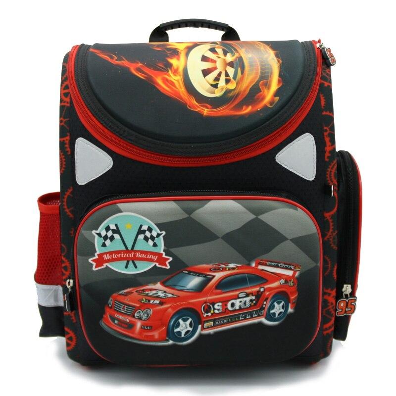 new 2016 cartoon car red racing orthopedic childrenkids elementary school bag books student