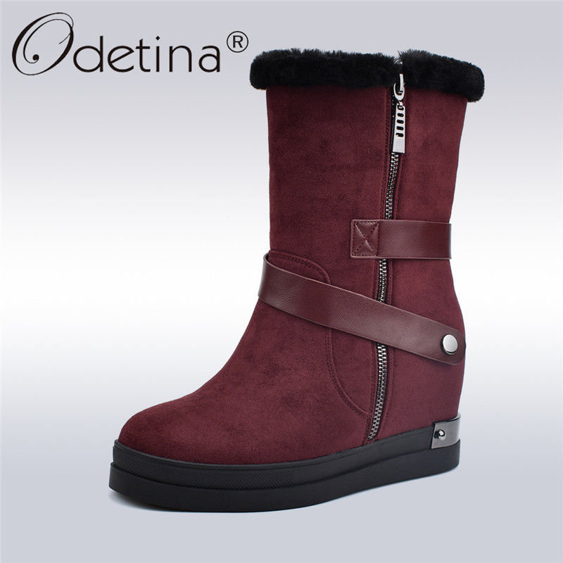 Odetina Suede Leather Female Snow Boots Platform Flat Fashion Height Increasing Women Ankle Boots Side Zipper Winter Warm Shoes zorssar 2017 new winter female shoes suede platform height increasing ankle snow boots fashion buckle high heels women boots