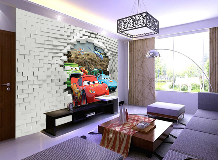 Large Mural Childrenu0027s Room Bedroom Modern Minimalist 3D TV Background  Wallpaper Wallpaper Stereoscopic Cars In Wallpapers From Home Improvement  On ...