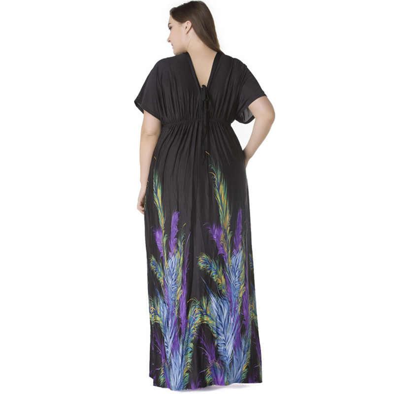 Вечерние 2018 богемные женские летние пляжные платья с v-образным вырезом и коротким рукавом летучая мышь плюс Размер 6XL 7XL сексуальное платье длинное пляжное макси платье