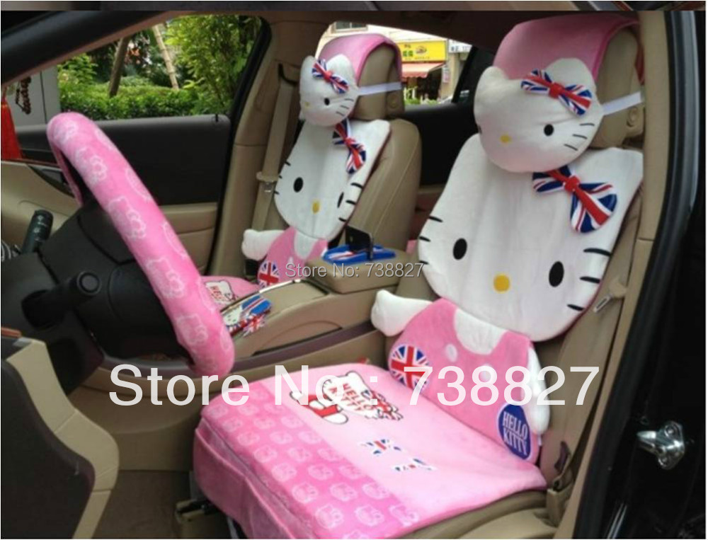 Car Seat Covers Set Cartoon Hello Kitty Pink Cushions chevrolet cruze,nissan,lada granta,lada kalina WOM0010 - ShangHai B&S Automobile Products Store store