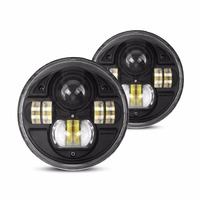 2 Pcs 7 Inch H4 Round Headlight 54W LED High Beam Low Beam With DRL For