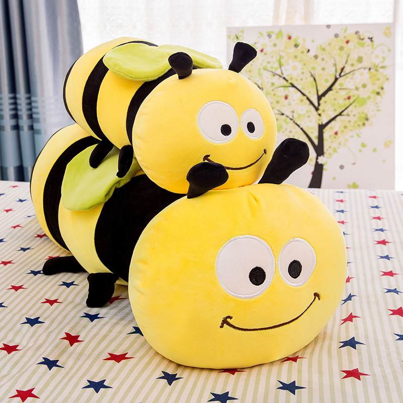 New Bee Plush Toy Pillow Children's Birthday Gift Cute Kawaii Animal Doll Sleeping Soft Sofa Decoration 45cm
