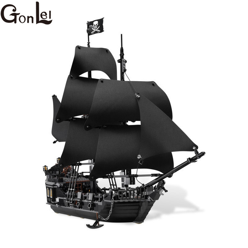 GonLeI 804Pcs  Pirates Of The Caribbean The Black Pearl Ship Model Building Kit Blocks BricksToy Compatible  16006 lepin 16006 804pcs pirates of the caribbean black pearl building blocks bricks set the figures compatible with lifee toys gift