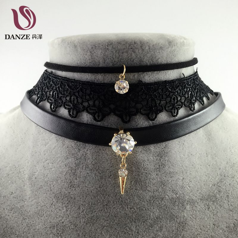 Danze Punk Crystal Stone Pendant Leather Necklace Collares Vintage Sexy Lace Choker Necklace Fashion Jewelry For Women 2017