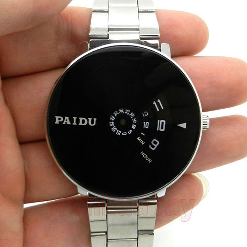 Silver Band Quartz Wrist Watch Turntable Black Dial Clock Hours Mens Womens Gifts Free Shipping silver band quartz wrist watch turntable black dial clock hours mens womens gifts free shipping