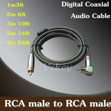 Buy online 1m 2m 3m 5m 8m – RCA Male to RCA Male Digital Coaxial Audio Cable For Home Theater HDTV Hi-Fi Systems Subwoofer Cord wire