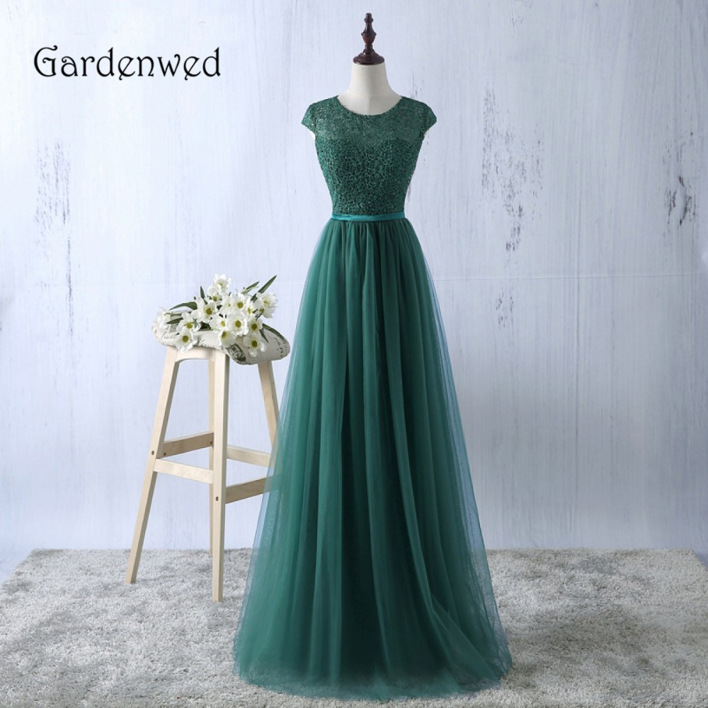 Gardenwed Top Lace Cadmium 2019 Green Lace Evening Dress Satin Sash Bottom Tulle de gala abiye