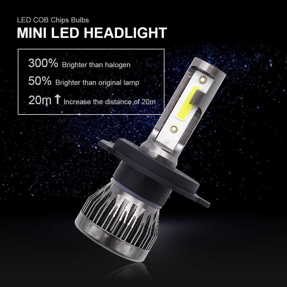 2pcs Mini LED H1 H4 H7 H11 9005 9006 Car Headlight Bulbs 12V Super Bright COB LED Light Bulb Auto Headlamp Kit 6000K