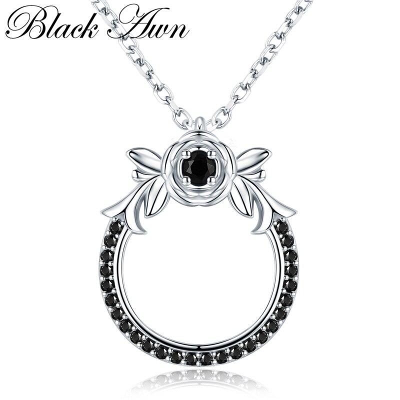 Black Awn Classic Arrive 925 Sterling Silver Fine Jewelry Trendy Flower Engagement Necklaces & Pendants For Women KK026