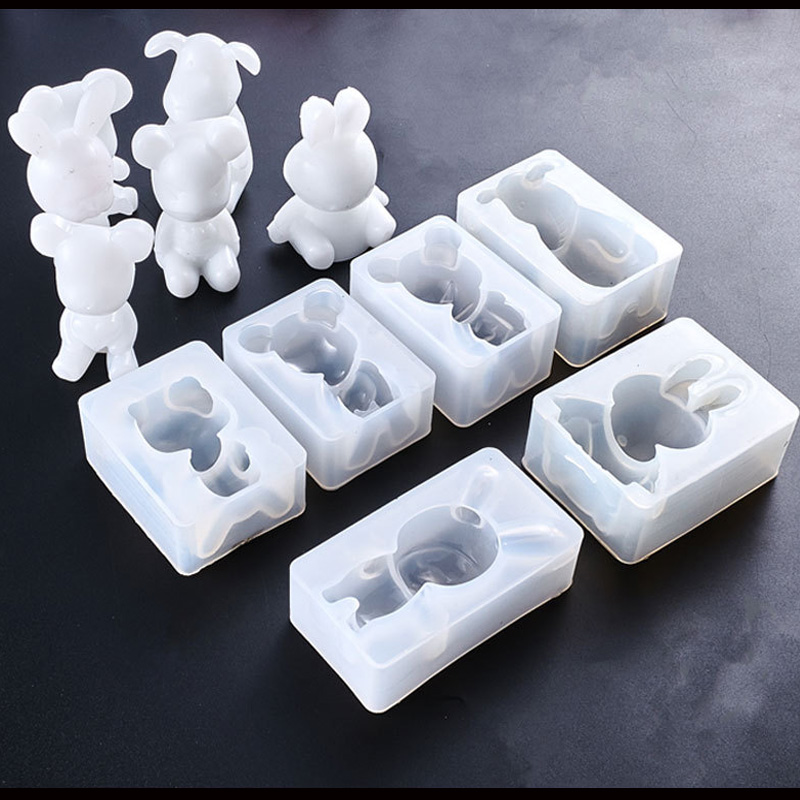 1PC Cute Animals Dog Bear Rabbit Shape Silicone Cake Mold DIY Chocolate Baking Utensil Cake Decoration Plaster Mold